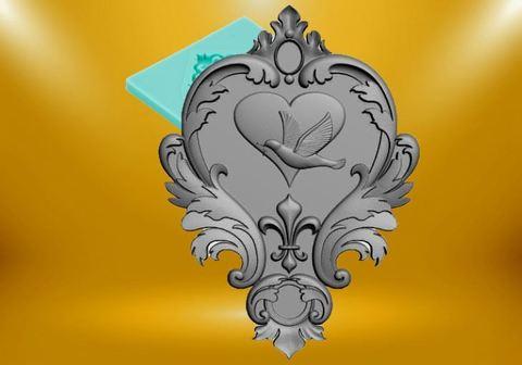 Силиконовый молд № 470  Голубь и сердце