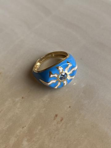 Кольцо Фудзи синее, позолота