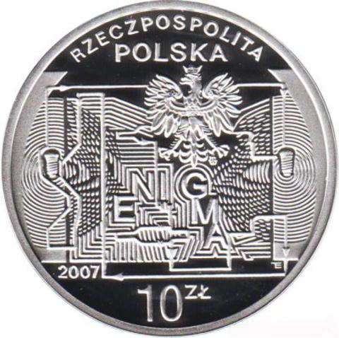 10 злотых 2007 год, Польша. 75-летие взлома шифра Энигмы. даты. Серебро. PROOF