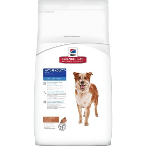 Hill's Science Plan  сухой корм для собак средних пород старше 7 лет, ягненок и рис Active Longevity