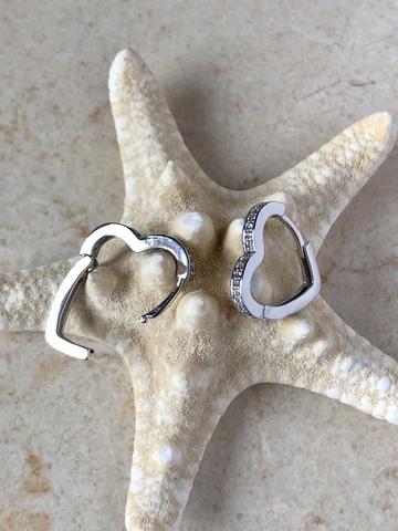 Серьги Сердиана с цирконами, серебряный цвет