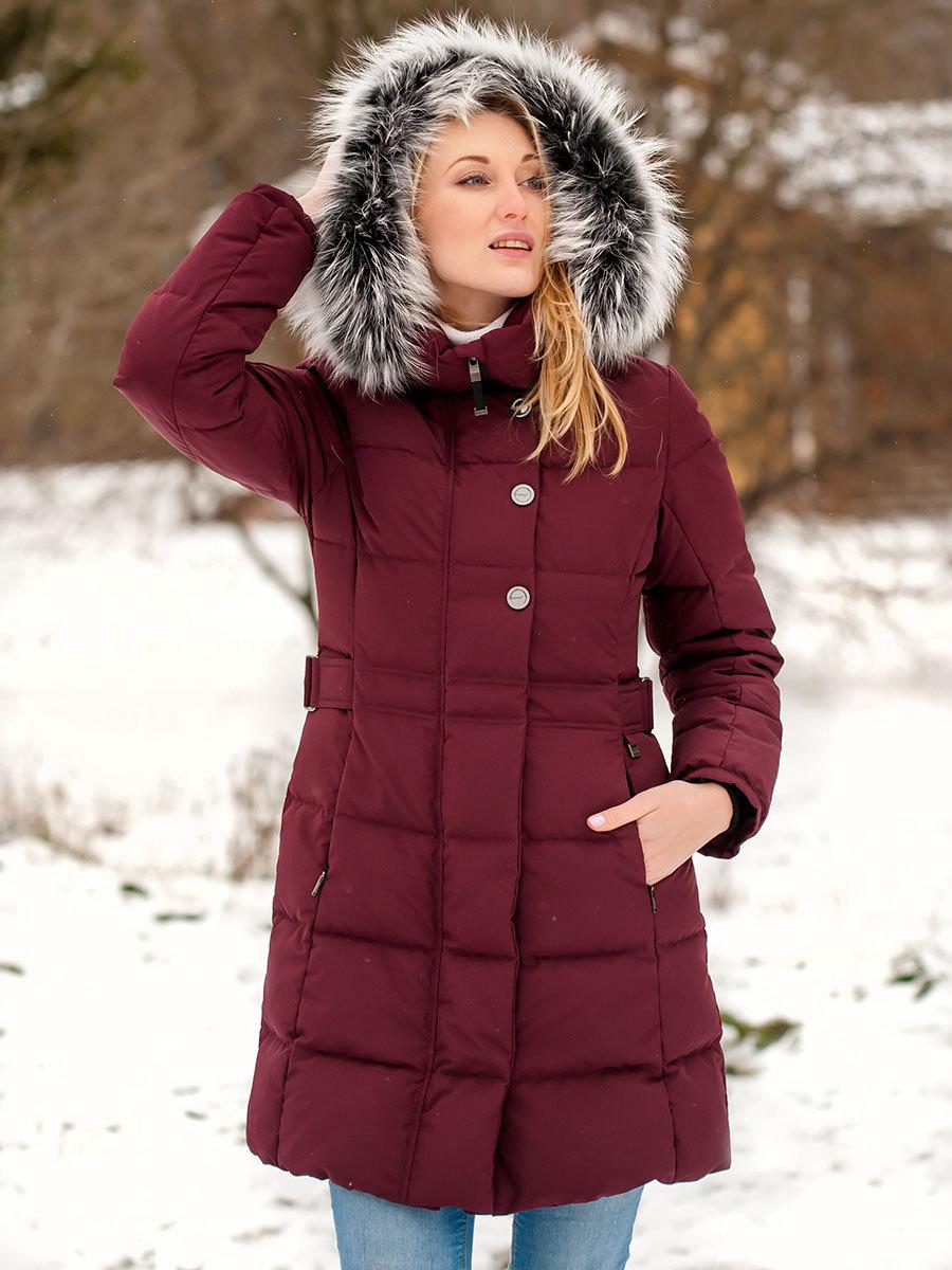 Joutsen пуховик Tiffany с мехом бордовый