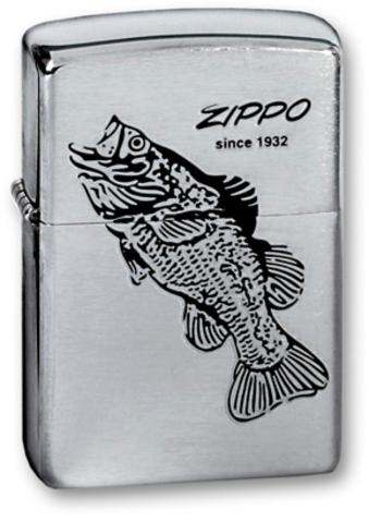 Зажигалка ZIPPO Classic Brushed Chrome™ Изображение окуня   ZP-200 BLACK BASS