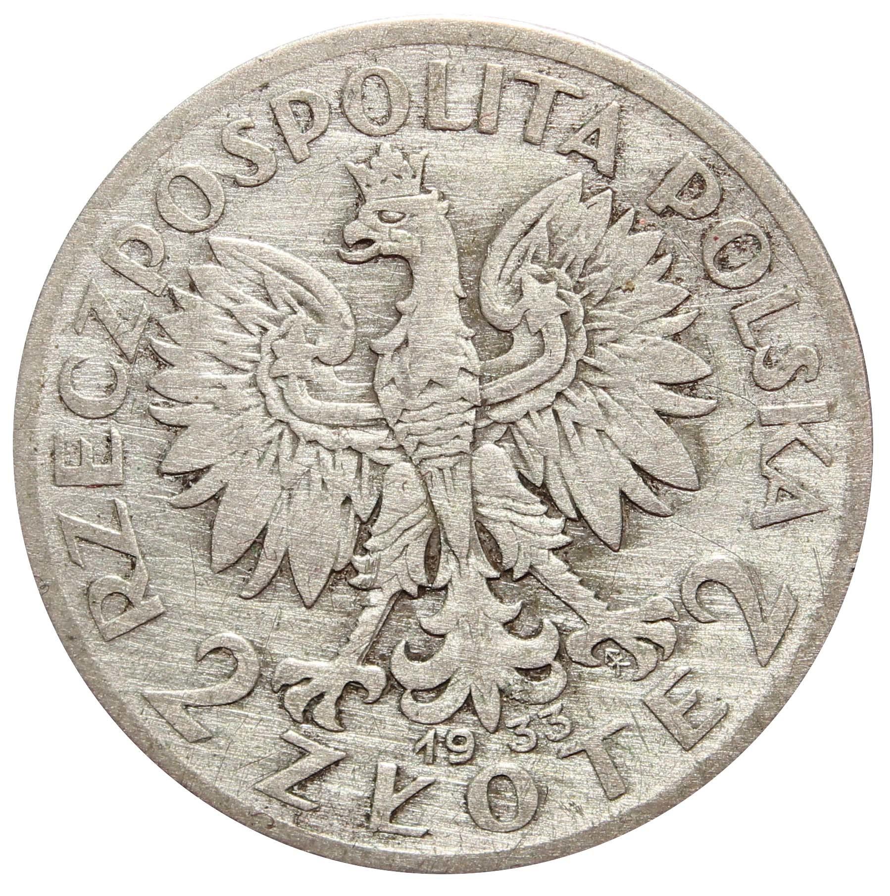 2 золотых. Ядвига. Польша. 1933 год. VF-XF