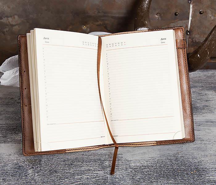BC197 Кожаный ежедневник с гербом СССР, ручная работа (A5) фото 10