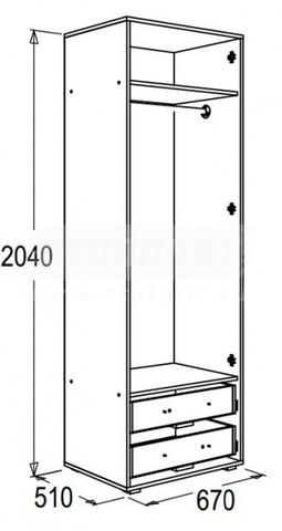 Шкаф 2-х дверный для одежды