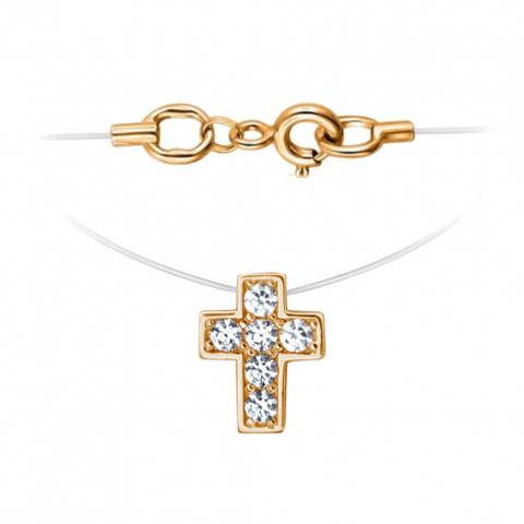 01Л111818 -Крестик из золота 585 пробы на леске-невидимке с золотыми замочками