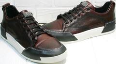 Удобные кроссовки из натуральной кожи мужские Luciano Bellini C6401 MC Bordo.