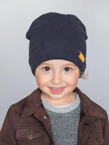 детская шапка из итальянской шерсти темно-синяя