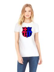 Футболка с принтом FC Barcelona (ФК Барселона) белая w004