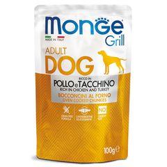 Паучи для собак Monge Dog Grill курица с индейкой