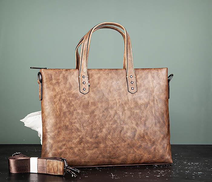 BAG510-2 Мужской кожаный портфель с ремнем на плечо