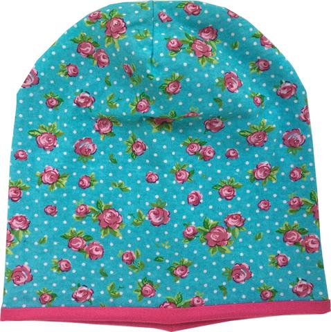 Детская шапочка из хлопкового трикотажа с принтом розочки