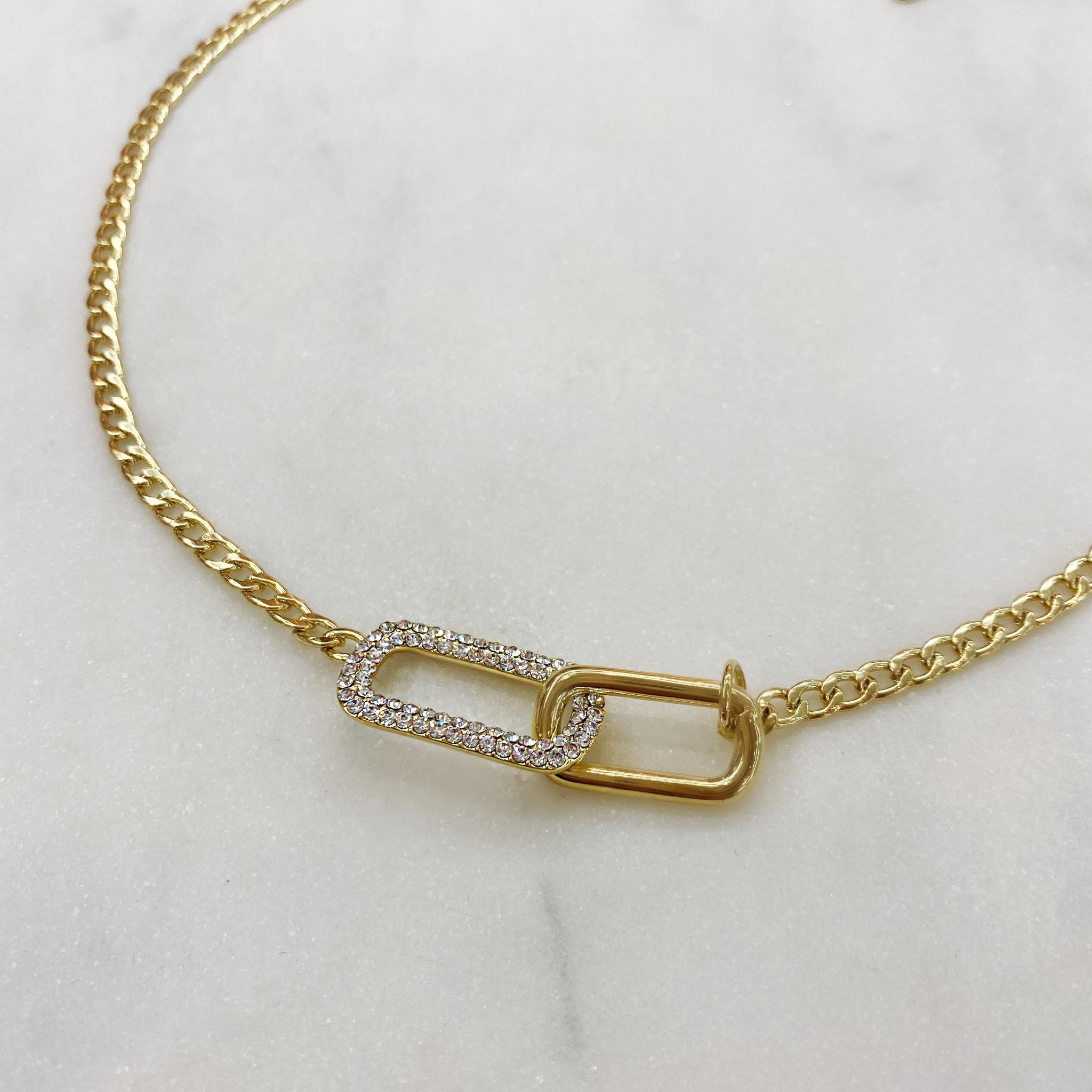 Колье-цепь с звеном инкрустированным Swarovski 40 см (золотистый)