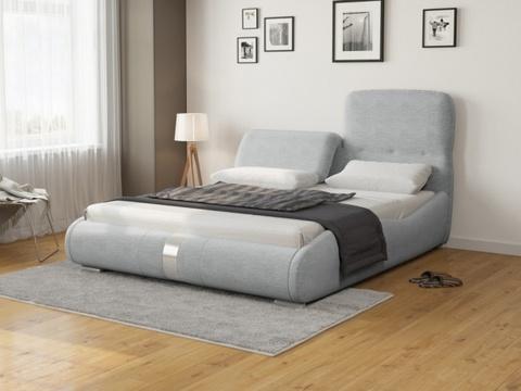 Кровать двуспальная Лукка: Ткань Рогожка серая