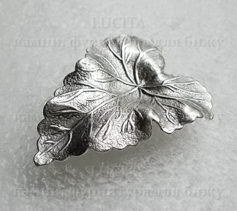 "Винтажный декоративный элемент - штамп ""Листик"" 36х28 мм (оксид серебра) ()"