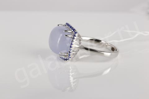Кольцо с серым агатом и цирконом из серебра 925