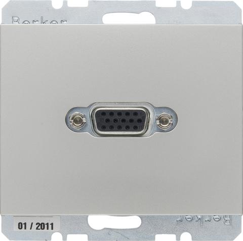 Розетка VGA (подключение к собранному кабелю). Цвет Нержавеющая сталь. Berker (Беркер). K.5. 3315407004. Цвет Нержавеющая сталь. Berker (Беркер). K.5. 3315407004