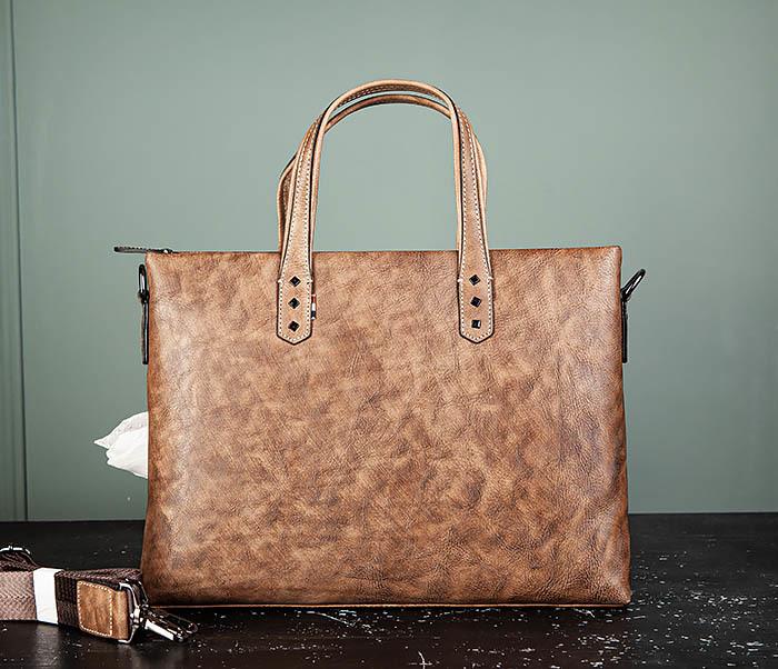 BAG510-2 Мужской кожаный портфель с ремнем на плечо фото 02