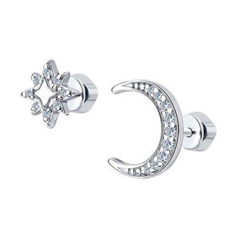 94023965 - Серьги Луна+звезда  из серебра с фианитами