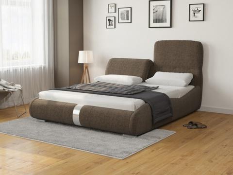 Кровать двуспальная Лукка: Ткань Рогожка коричневая