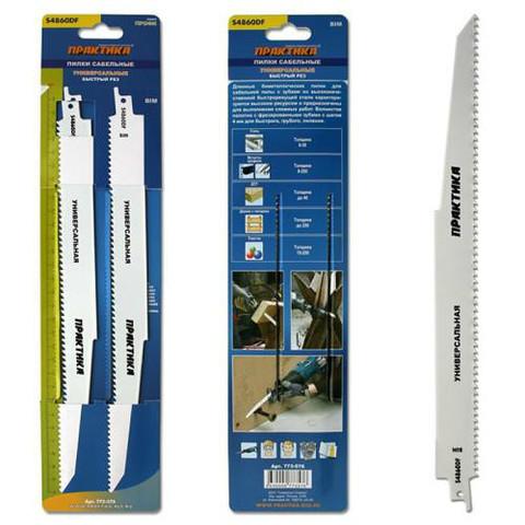 Пилки для лезвийной пилы ПРАКТИКА S4860DF BIM, по  дер/мет/пласт, шаг 4 мм, длина 300 мм,  (773-576)