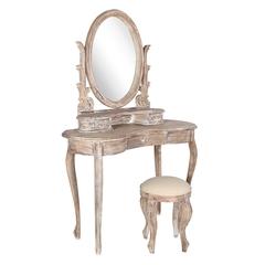 "Туалетный столик с банкеткой ""Королева (QUEEN) ANNE"" —  Античный серый (MK-2506-AG)"
