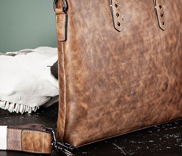 BAG510-2 Мужской кожаный портфель с ремнем на плечо фото 03