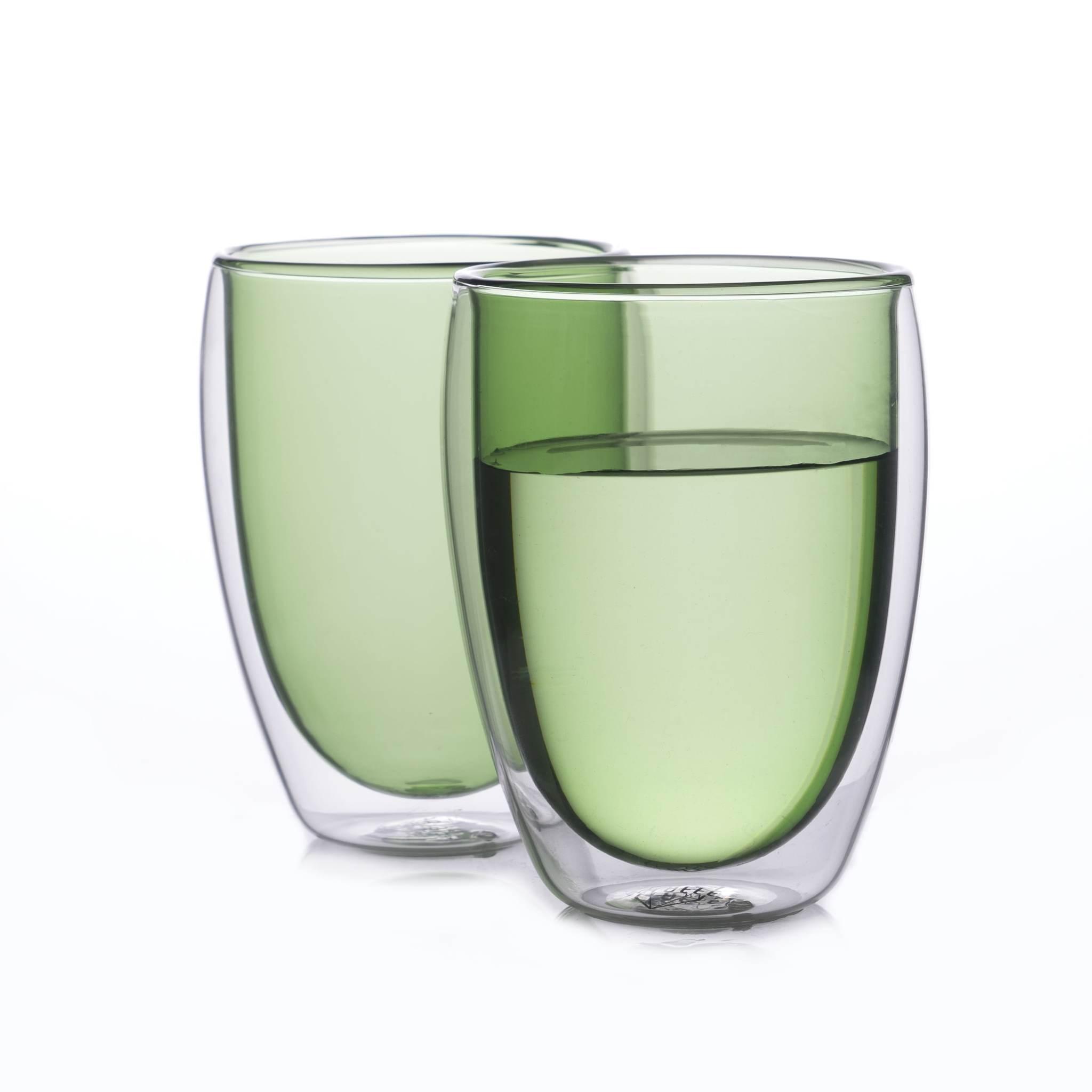 Цветные стаканы и кружки Набор стаканов из двойного стекла зеленого цвета 350 мл, 2 шт. зеленый2-min.jpg