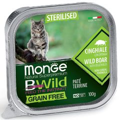 Консервы беззерновые для стерилизованных кошек MONGE CAT BWILD GRAIN FREE из кабана с овощами