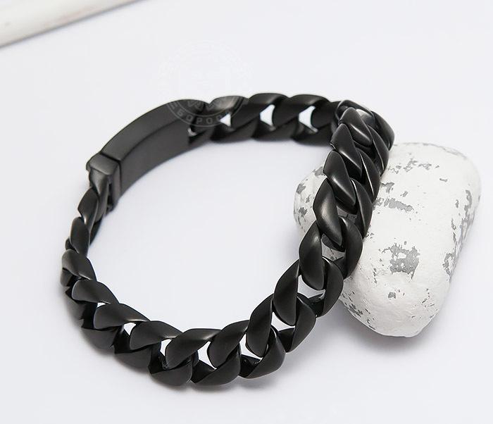 BM467-3 Мужской браслет цепь из стали черного цвета (21 см) фото 04