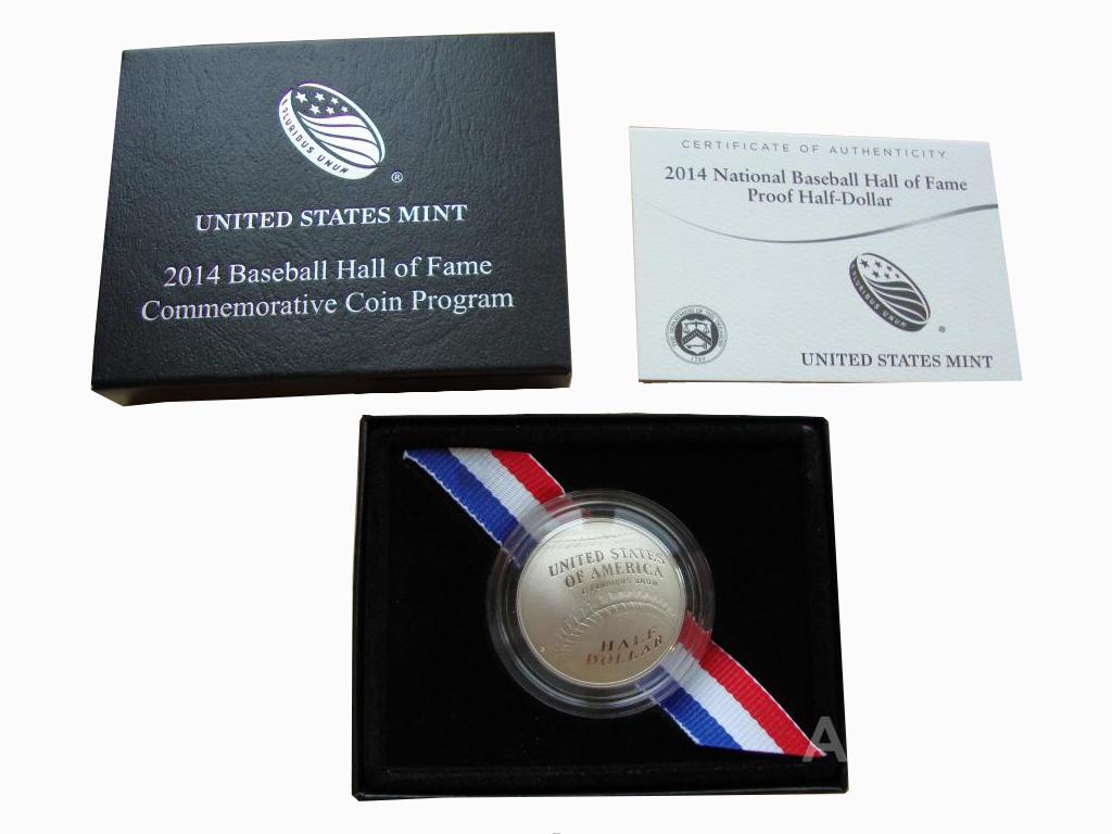 50 центов, 1/2 доллара 2014 год. Бейсбол Национальный зал славы бейсбола. США. PROOF