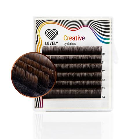 Ресницы двухтоновые тёмный шоколад Lovely MINI - 6 линий - MIX