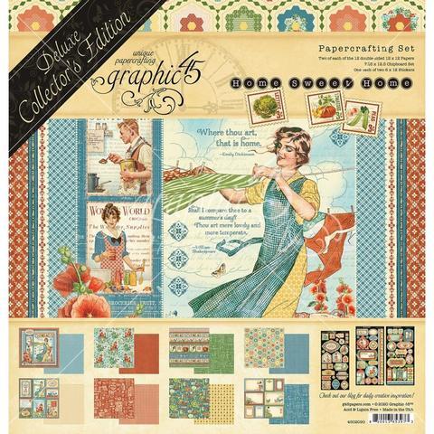 Набор двусторонней бумаги 30х30см с чипбордом  и стикерами- Graphic 45 Deluxe Collector's Edition Pack -Home Sweet Home