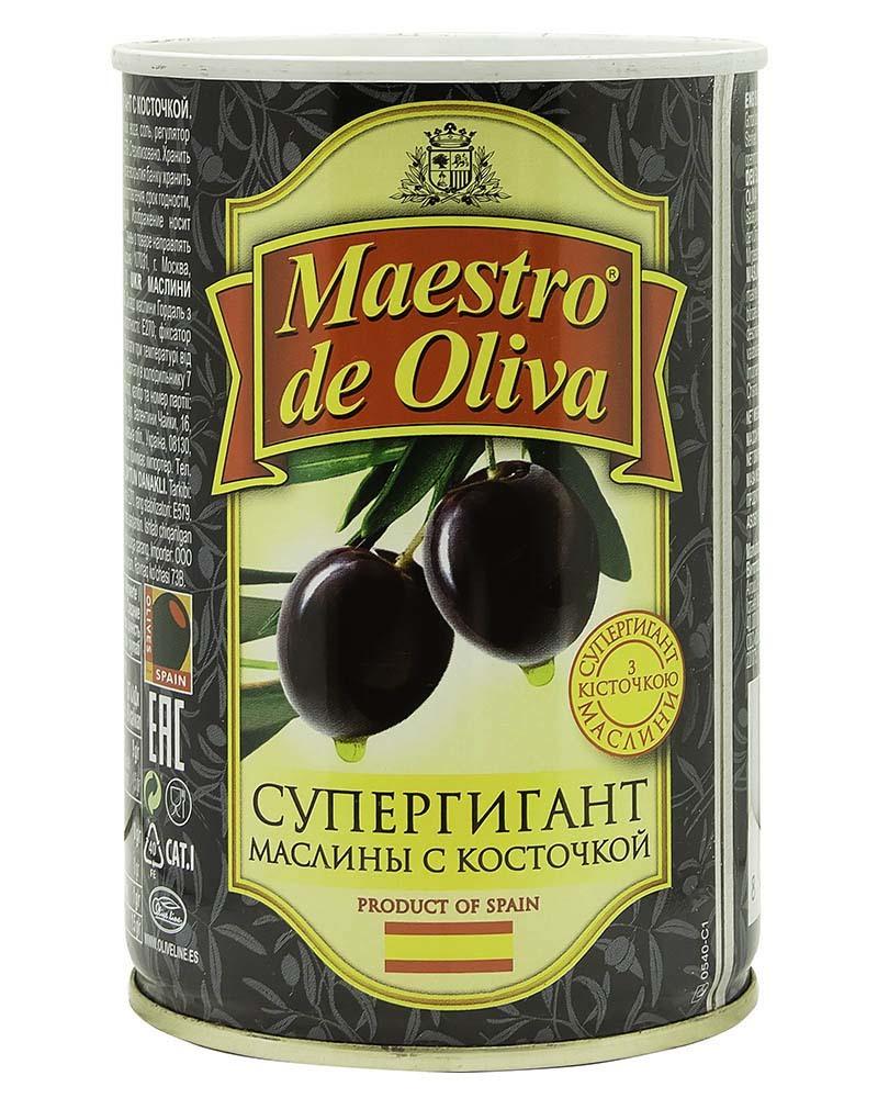 Маслины Maestro de Oliva Супергигант с косточкой 425 гр