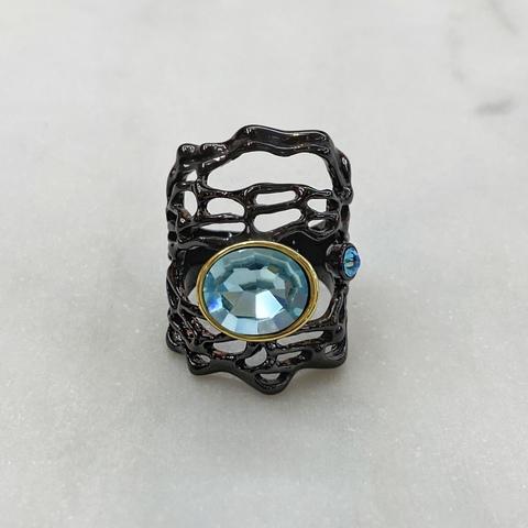 Кольцо Авангард (черный/голубой)