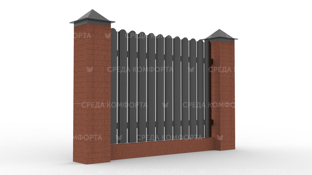 Забор из евроштакетника ZBR0044