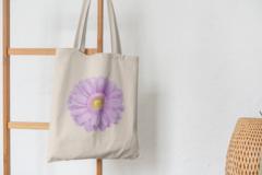 Сумка-шоппер с принтом Цветы (Герберы) бежевая 004