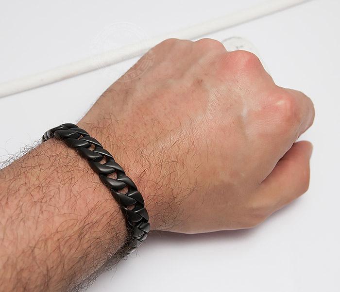 BM467-3 Мужской браслет цепь из стали черного цвета (21 см) фото 05