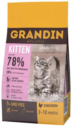 GRANDIN Kitten корм для котят в возрасте до 12 месяцев, беременных и кормящих кошек, с курицей 1,5 кг.