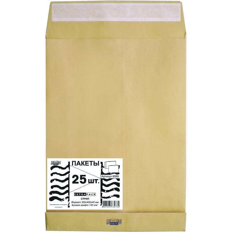 Пакет Extrapack E4 из крафт-бумаги 120 г/кв.м стрип (25 штук в упаковке)