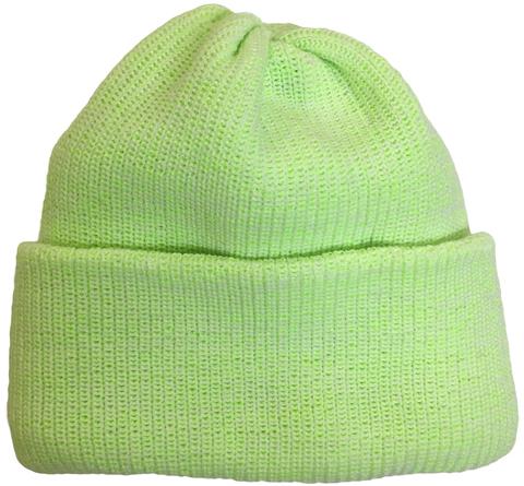 Зимняя шапка бини с отворотом, цвет неоновый