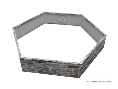 Клумба многоугольная оцинкованная 1 ярус Камень песчаник
