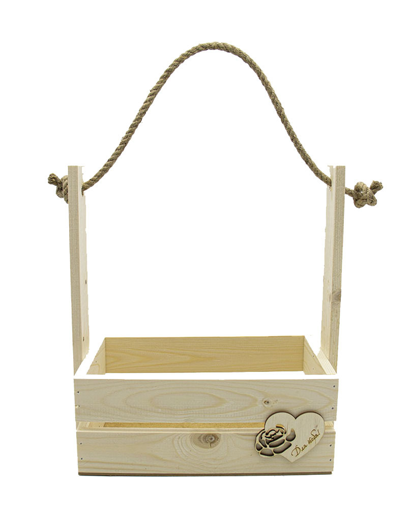 Деревянный Ящик с Сердцем 20,5х15х30,3 натуральный