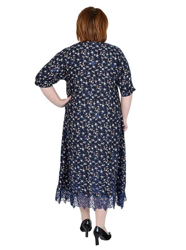 Платье Барышня, цветы на синем