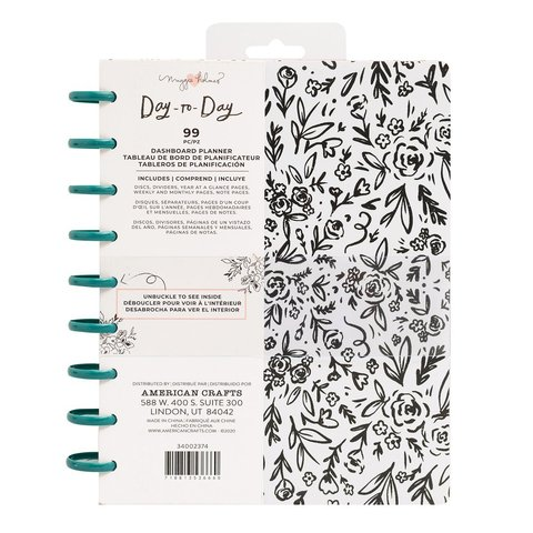 Планер на дисках, не датирован. Maggie Holmes Day-To-Day Undated Dashboard Planner 19х24 см Black & White Floral