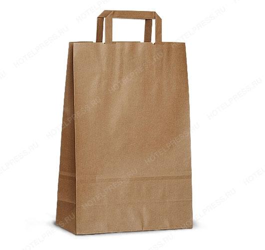 Крафт пакет коричневый с плоскими ручками