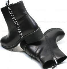 Демисезонные полусапожки женские без каблука Jina 6845 Leather Black.