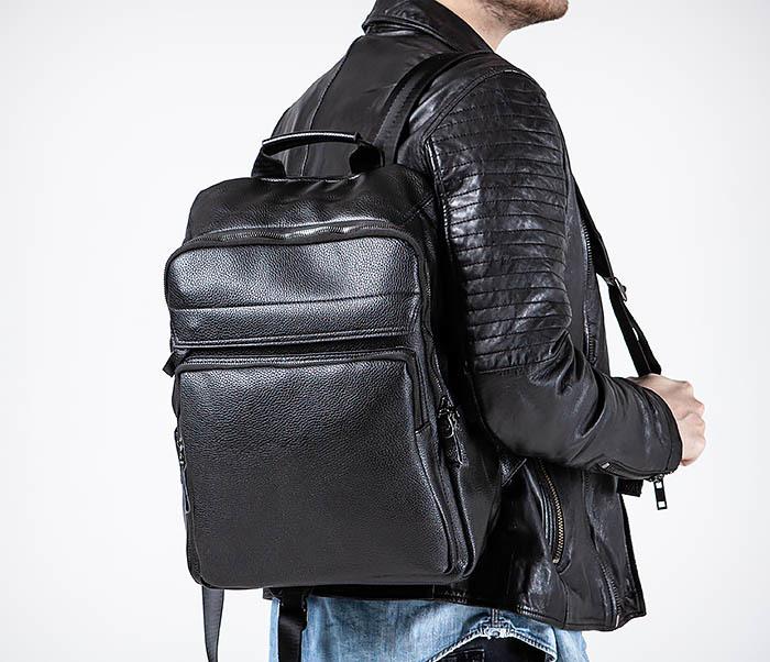BAG530-1 Большой кожаный рюкзак черного цвета