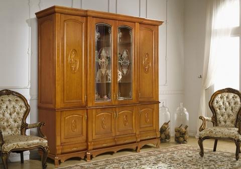 Шкаф с витриной 4 дверный с декором и витражом